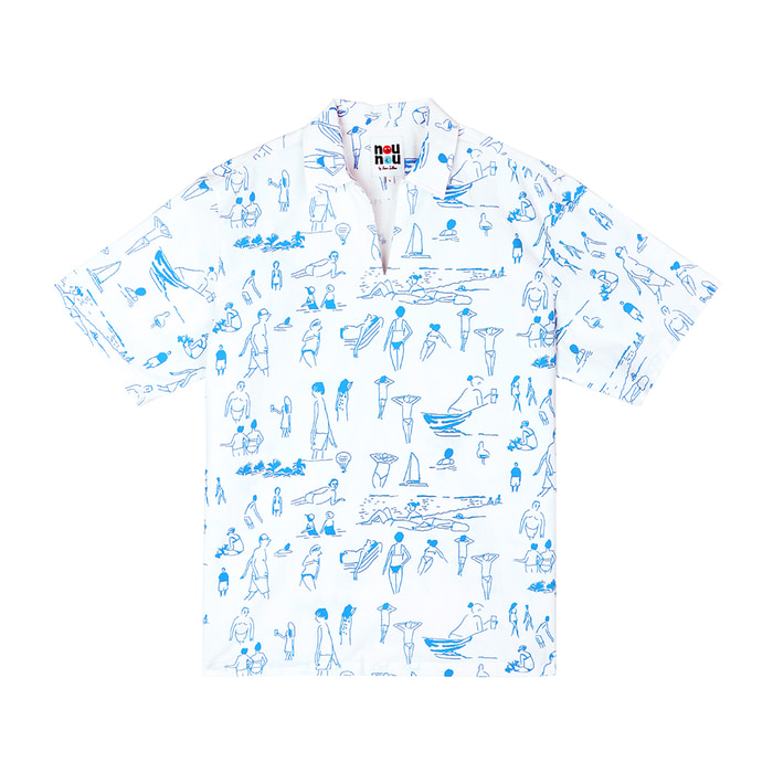 [SS18 NOUNOU] Summer Beach Oxford Popover Shirts(White) STEREO-SHOP