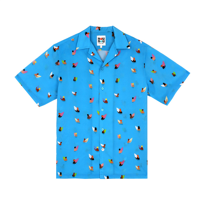 [SS18 NOUNOU] Surfer Pattern Rayon Shirts(Blue) STEREO-SHOP