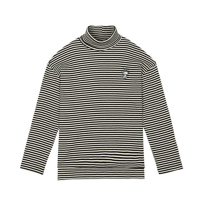 [FW18 Peanuts] Stripe Turtleneck Long Sleeve(Black) STEREO-SHOP