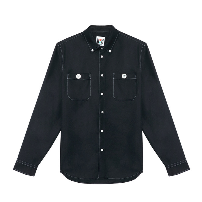 [FW18 NOUNOU] Face Button Wool Mixed Shirts(Navy) STEREO-SHOP