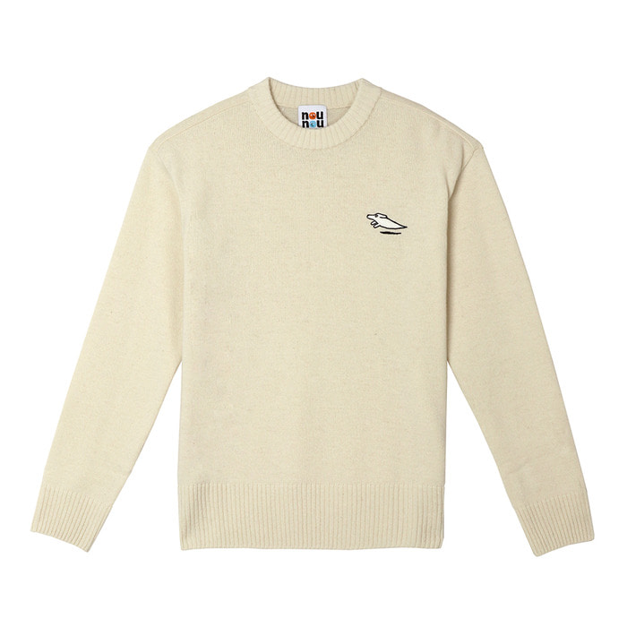 [FW18 NOUNOU] Patch Wool Mixed Knit(Ivory) STEREO-SHOP