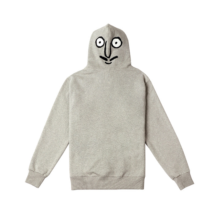 [FW18 NOUNOU] Back Face Fleece Hoodie(Melange Grey) STEREO-SHOP