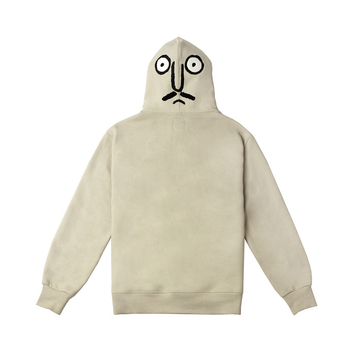 [FW18 NOUNOU] Back Face Fleece Hoodie(Light Beige) STEREO-SHOP